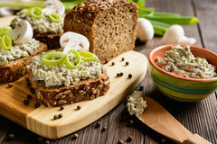 Mushroom spread with Roquefort cheese and leek. Slice of whole wheat toast with mushroom spread with Roquefort cheese and leek Royalty Free Stock Image