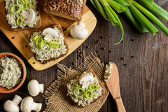 Mushroom spread with Roquefort cheese and leek. Slice of whole wheat toast with mushroom spread with Roquefort cheese and leek Stock Photo