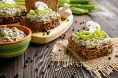 Mushroom spread with Roquefort cheese and leek. Slice of whole wheat toast with mushroom spread with Roquefort cheese and leek Stock Photos