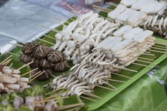 Mushroom stick. Koh Phangan's walking street market, street food Stock Photography