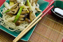 Mushroom stir fry with noodles Stock Photography