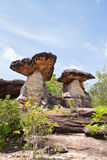 Mushroom stone and blue sky. The Natural Stone as Mushrooms in Pha Taem National Park,Ubonratchathanee Province,Thailand Royalty Free Stock Photography