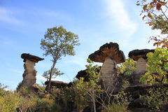 Mushroom stone. At Ubon Ratchathani province in Thailand Stock Photos