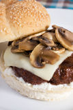 Mushroom Swiss Burger Stock Photography