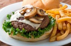 Mushroom Swiss Burger Royalty Free Stock Photos