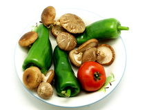Mushroom , tomato and green pepper Stock Photography