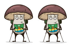 Mushroom traveler with a map and trekking pole. Cartoon character. Vector illustration. Stock Images