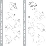 Mushroom and Umbrella. Find true correct shadow. Stock Photos