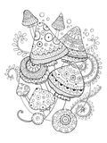 Mushroom vector drawing coloring book for adults. Mushroom drawing coloring book for adults vector illustration. Anti-stress coloring for adult. Tattoo stencil Stock Images