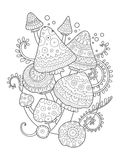 Mushroom vector drawing coloring book for adults. Mushroom drawing coloring book for adults vector illustration. Anti-stress coloring for adult. Tattoo stencil Royalty Free Stock Photo