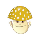 Mushroom Vector Illustration. Cheerful yellow mushroom - fungus Vector Illustration Royalty Free Stock Image