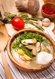 Mushroom vegetable soup vertical Royalty Free Stock Photos
