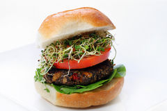 Mushroom Veggie Burger with Sprouts Stock Images