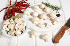 Mushroom white wooden table Royalty Free Stock Image