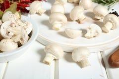 Mushroom white wooden table Stock Images