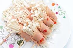 Mushroom wrap in bacon Stock Photography