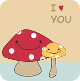 Mushrooms. Illustration of mushrooms in lov Stock Photos