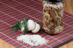 Mushrooms. Oyster fungus and marinated mushrooms in a jar. Rice in front and dill behind Royalty Free Stock Image