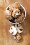 Mushrooms. Selection of mushrooms for cooking, whole and cut Royalty Free Stock Photography