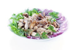 Mushrooms. Pickled with onion and parsley Stock Photo