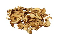 Mushrooms. Dehydrated slices of mushrooms white background Stock Image