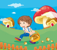 Mushrooms. Illustration of a boy with mushrooms Stock Photography