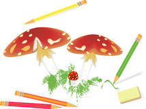 Mushrooms. The Drawn mushrooms. Crayons for drawing (red, green. blue, yellow Royalty Free Stock Photography