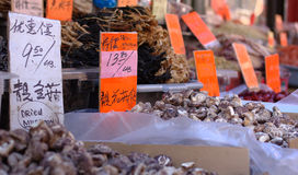 Mushrooms And Other Fresh Products Displayed In Chinatown Royalty Free Stock Image