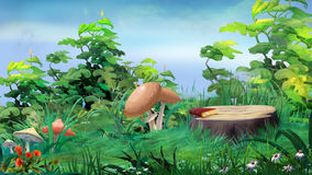 Mushrooms Around the Stump in a Forest Glade. Forest Glade with Big Stump and Mushrooms in a Summer Day. Digital Painting Background, Illustration in cartoon Royalty Free Stock Images