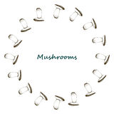 Mushrooms arranged in frame Stock Photos