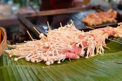 Mushrooms at asian street market Royalty Free Stock Photo