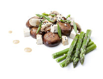 Mushrooms with asparagus and tofu Stock Images