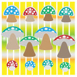 Mushrooms background. Colorful mushrooms on beautiful background Stock Images