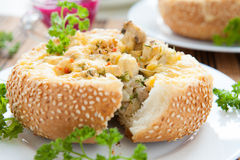 Mushrooms baked in a bun Royalty Free Stock Photography