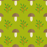 Mushrooms and berries seamless pattern. Cute and simple mushrooms and berries background. Seamless pattern Stock Photo