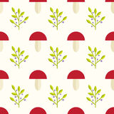 Mushrooms and berries seamless pattern. Cute and simple mushrooms and berries background. Seamless pattern Royalty Free Stock Images