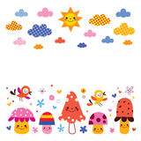 Mushrooms, birds, clouds sun kids background illustration Royalty Free Stock Image