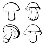 Mushrooms Black Icon Set Royalty Free Stock Photo