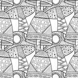 Mushrooms. Black and white illustration, seamless pattern for coloring book, pages. Vector Royalty Free Stock Photos
