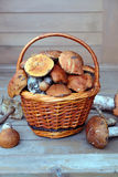 Mushrooms in brown basket on porch Royalty Free Stock Photo