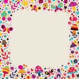 Mushrooms, butterflies, snails, flowers border Royalty Free Stock Image
