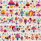 Mushrooms, butterflies & snails pattern Royalty Free Stock Photos