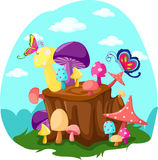Mushrooms and butterflies with tree stump Royalty Free Stock Photo