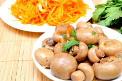Mushrooms and carrots in Korean Royalty Free Stock Photo
