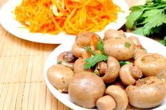 Mushrooms and carrots in Korean Royalty Free Stock Photo