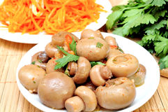 Mushrooms and carrots in Korean Royalty Free Stock Image