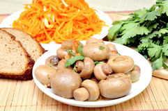 Mushrooms and carrots in Korean Stock Photo