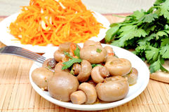 Mushrooms and carrots in Korean Stock Photos