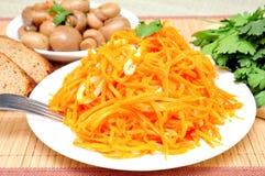 Mushrooms and carrots in Korean Stock Image
