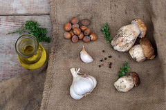 Mushrooms ceps with olive oil, garlic, herbs and nuts Royalty Free Stock Photography